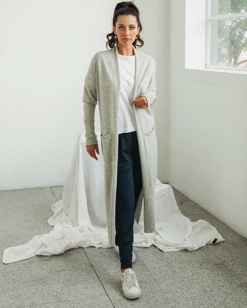 Long Cashmere Cardigan-Marl Grey-Small