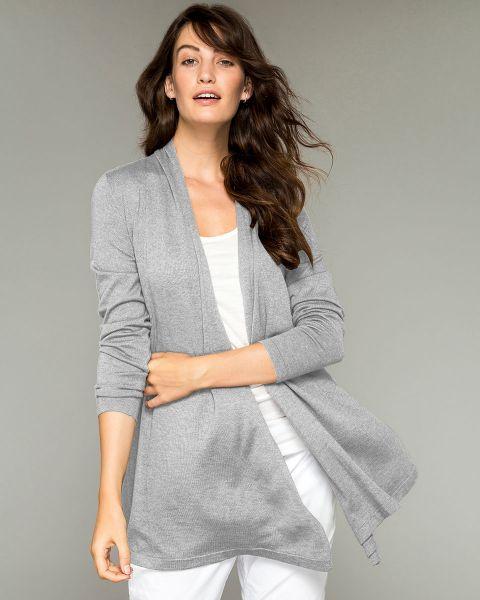 Cashmere and Silk Pilar Wrap Cardigan-Marl Grey-Large