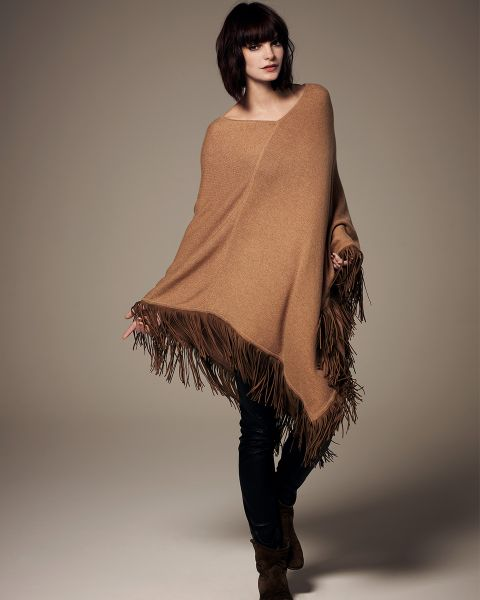 V-Neck Poncho with Leather Tassels