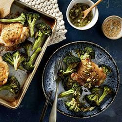 Recipe - Sheet-Pan Sesame Chicken & Broccoli with Scallion-Ginger Sauce